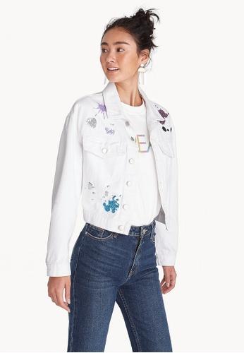 9b3dd3a8de3 Buy Pomelo Sequin Accent Denim Jacket - White Online on ZALORA Singapore