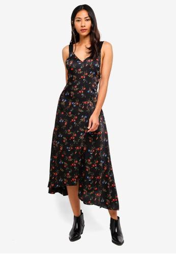 Hopeshow black Floral Print Long Dress EB663AA6F1F7F5GS_1