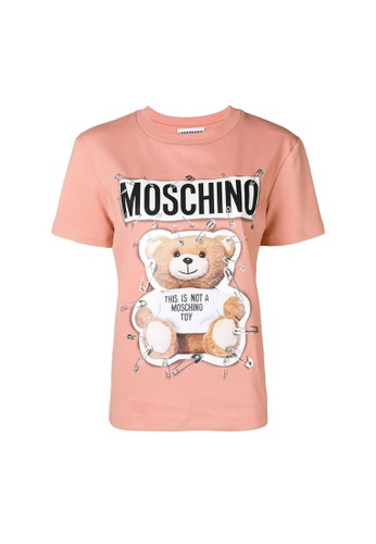 Moschino pink Moschino Safety Pin Teddy T-Shirt in Pink 3164CAA2E2FC32GS_1