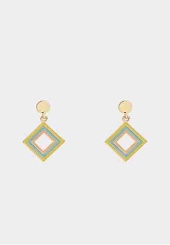 Pomelo multi Diamond Shape Drop Earrings - Multi Color 79E0EACE24F726GS_1
