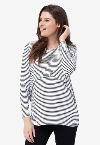 Ripe Maternity black and white and multi Maternity Swing Back Nursing Top 046CBAA848252AGS_1