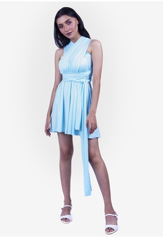 bc4ce93d078 JULY blue Severine Convertible Bridesmaids Dinner Mini Dress in Tiffany  Blue 68484AAC24D470GS 1