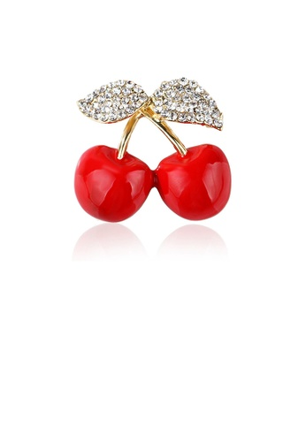 Glamorousky white Simple and Sweet Plated Gold Cherry Brooch with Cubic Zirconia 61309ACCA97571GS_1