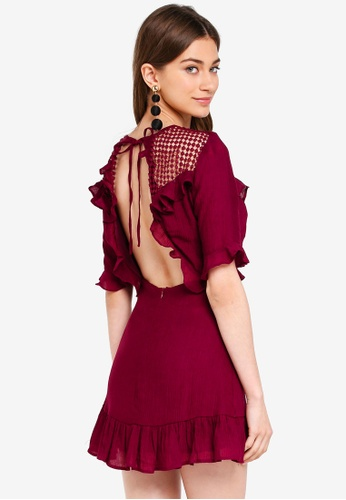 INDIKAH red Mesh Yoke Ruffle Skater Dress C7EB7AA3D5D722GS_1