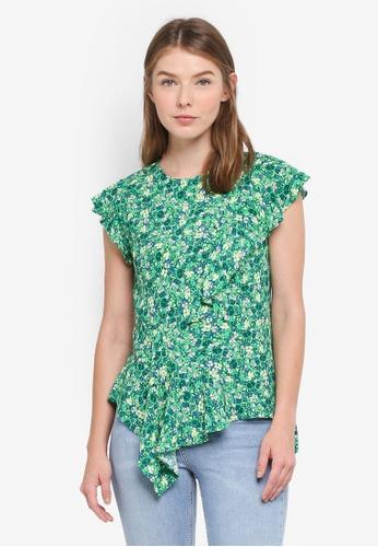 TOPSHOP green Field Floral Print Blouse ECA02AA2887EDFGS_1