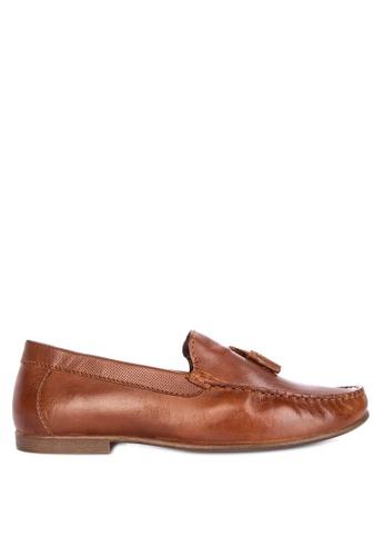 Topman brown Tan Leather Blast Tassel Loafers F874DSH772420EGS_1