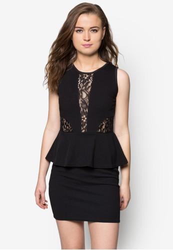 荷葉蕾絲露背zalora 包包評價洋裝, 服飾, 緊身洋裝