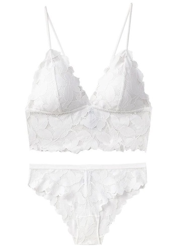 ZITIQUE white Spanish Vest-style Petal Lace Thin Section Without Steel Ring Set-White 69D59US48CCF40GS_1