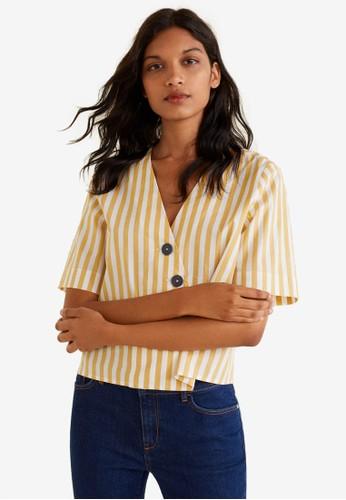 MANGO yellow Buttoned Cotton Shirt 56B53AA079485AGS_1
