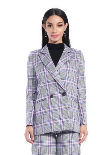 Hernani pink and blue Tartan double breasted coat 5B580AA01B1A5BGS_1