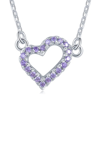 MBLife silver 925 Sterling Silver Purple CZ Heart Necklace DF712AC8EEB4EAGS_1