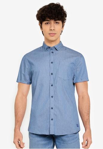 BLEND blue Textured Print Short Sleeve Shirt 2B535AAE60D91CGS_1