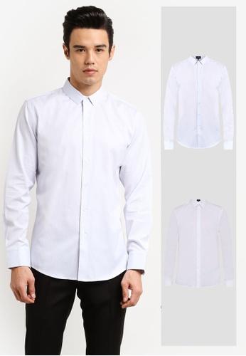 ZALORA white and blue 2 Pack Slim Fit Plain & Stripe Poplin Long Sleeve Shirt ZA919AA0FKG4SG_1
