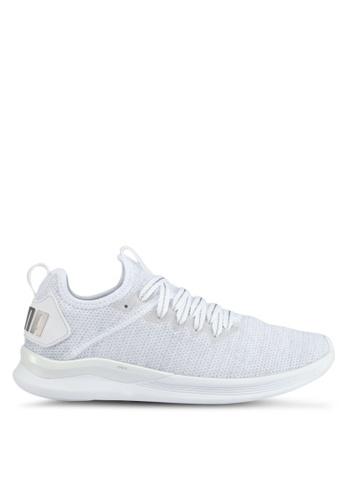 Puma grey and white Ignite Flash Evoknit Ep Shoes PU549SH0SWDAMY_1