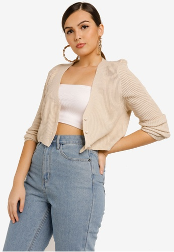 MISSGUIDED beige Ribbed Pearl Button Crop Cardigan D0617AA3CA4DDFGS_1