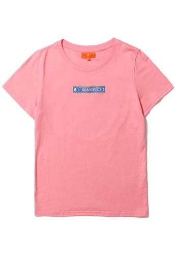 """tout à coup pink """"L'Orangeade"""" print tee 34B3DAA16BAF1EGS_1"""