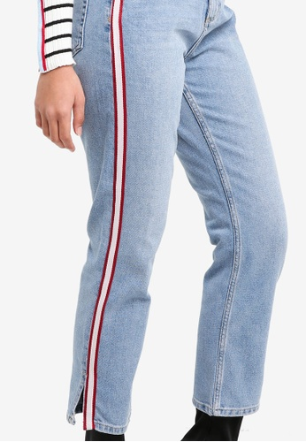 ec8fd69dd2b1 Buy TOPSHOP Moto Side Striped Straight Leg Jeans Online