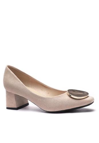 Twenty Eight Shoes 方頭圓扣絨面高踭鞋1270-45 3C18CSH600075AGS_1