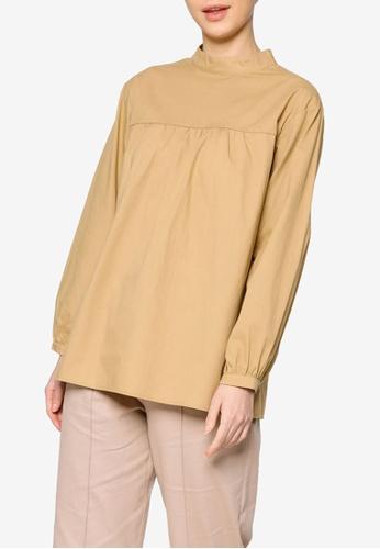 ZALIA BASICS brown Back Buttoned Shirt 1B7B7AA48DAA0DGS_1