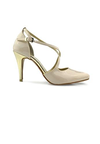 SHINE beige Cross Strap Point Heels 14E63SH470CDC0GS_1