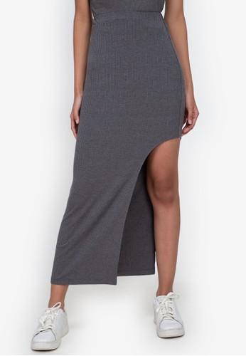 ZALORA BASICS grey Side Slit Maxi Rib Skirt 990B6AA152FA13GS_1