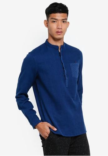 OVS 藍色 中山領長袖襯衫 88DADAA4BD6248GS_1