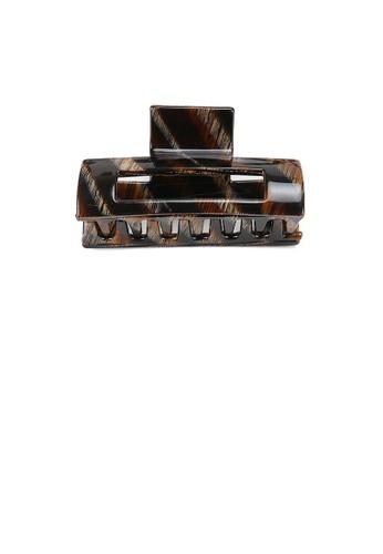 Glamorousky silver Simple Fashion Striped Black Geometric Hair Claw 866DEACC9C89E7GS_1