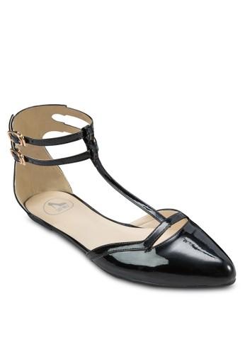 亮面雙踝帶平zalora開箱底鞋, 女鞋, 鞋