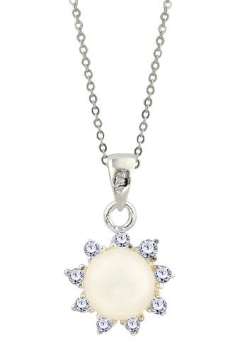 SC Tom Silver silver Sun Stone Pendant/ Flower Stone Pendant-TPS080 W/CHAIN SC872AC22GFXPH_1