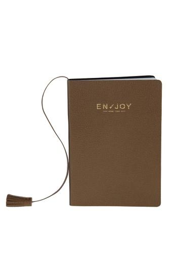Enjoybag brown Eva`s Agenda Italian Goat Leather Small Notebook EN763AC68RUHHK_1