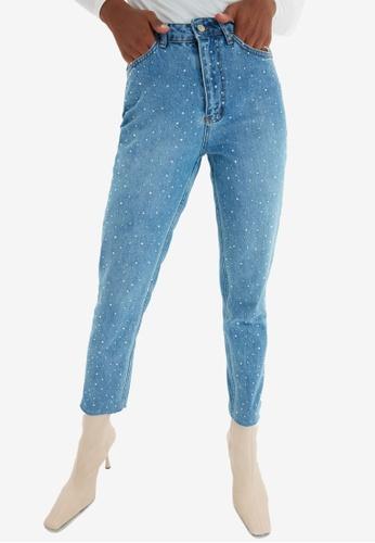 Trendyol blue High Waist Mom Jeans CDD3FAAF531A85GS_1