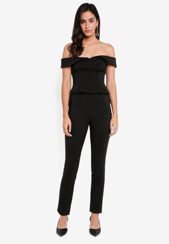 Lavish Alice black Bardot Corset Jumpsuit LA457AA0SSRBMY_1