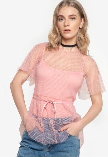 TOPSHOP pink Spot Mesh Belted Batwing Top TO099AA90VZTPH_1
