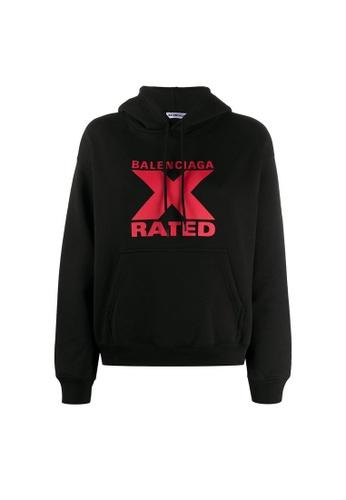 BALENCIAGA black Balenciaga X-Rated Small Fit Hoodie in Black/Red 3638DAA8BBE007GS_1