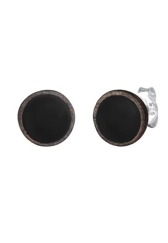 KUZZOI black Perhiasan Pria Perak Asli - Silver Anting Round Basic Oxidised Enamel D0658AC96F1942GS_1