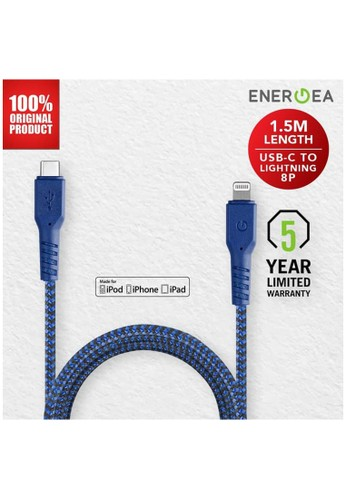 Energea blue Kabel Data USB-C to Lightning 3A 1.5m - Fibratough - Energea - Blue D2084ES4D59CDEGS_1