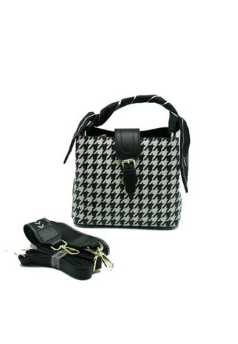 Lara black Women's Zipper Bucket Shoulder Bag Handbag (with 2 Straps) - Houndstooth 95523AC7A74B74GS_1