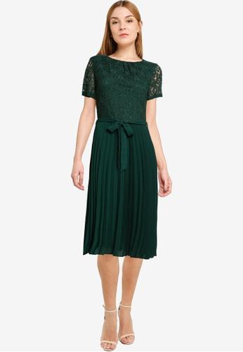 Dorothy Perkins green Green Lace Pleat Midi Dress 2E978AA662BFECGS_1