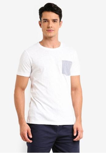 Brooks Brothers 白色 短袖口袋印花T恤 9FA3FAA671EE7FGS_1