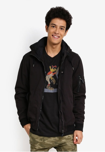 Cotton On black MA1 Hooded Bomber Jacket B1C9FAA5806BEEGS_1