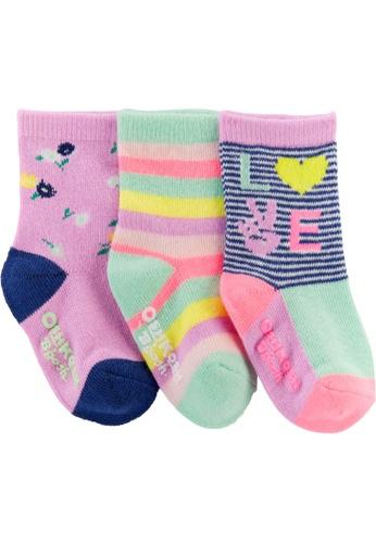Oshkosh B'gosh pink OSH KOSH Girl 3 Pack Iris Neon Crew Socks E85EFKABF5B157GS_1