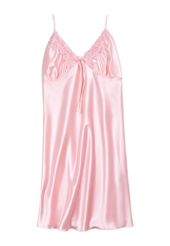 ZITIQUE pink Summer Ice Silk Lace Suspender Pajamas-Pink 21C58US096DA70GS_1