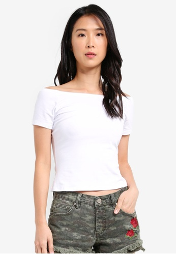 ZALORA white Off Shoulder Jersey Top 74AC8AAC087054GS_1