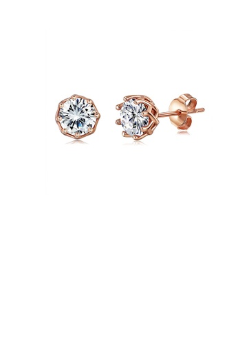 Glamorousky white 925 Sterling Silver Plated Rose Gold Simple Fashion Geometric Round Cubic Zirconia Stud Earrings 12708AC0848BE2GS_1