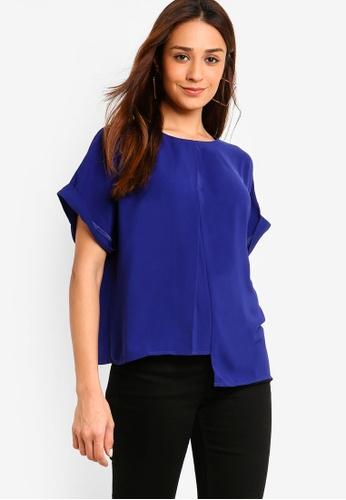 ZALORA 藍色 褶飾前寬鬆上衣 B4C40AAEA8D4F5GS_1