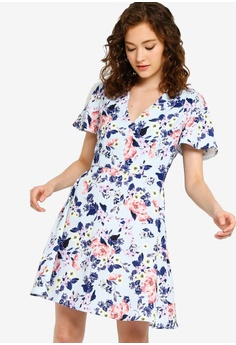 2787120851a3a French Connection blue and multi Armoise Crepe Flippy Dress  A2039AA96EF9EEGS_1