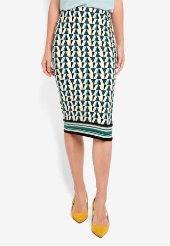 Dorothy Perkins white Green/Ivory Stripe Hem Pencil Skirt DA1B1AAC100583GS_1