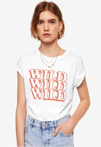 Mango white Wild T-Shirt 239A4AADF587B2GS_1
