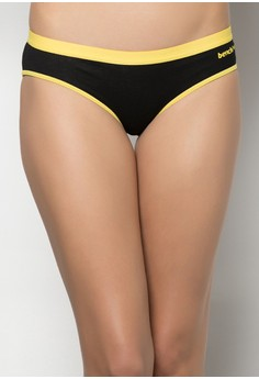 Ladies' Black and Rainbow Low Rise Bikini Brief