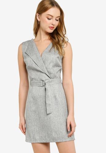 ZALORA WORK grey Sleeveless Fit & Flare Belt Dress 22F7AAA04BE12CGS_1